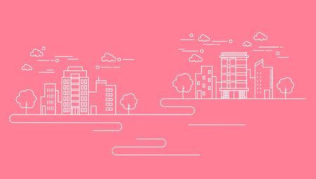 Business line on pink background, vector illustration.