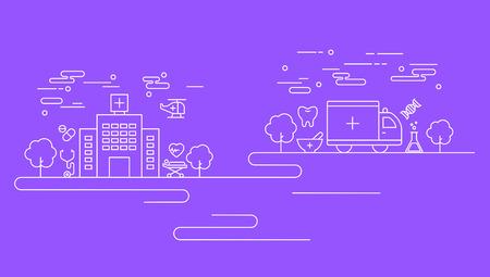 Business line on violet background, vector illustration.