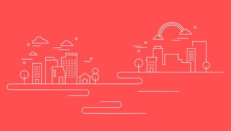 Business line on red background, vector illustration.