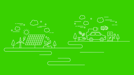 Business line on green background, vector illustration.