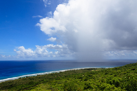 View of the mountains on the coast, Guam