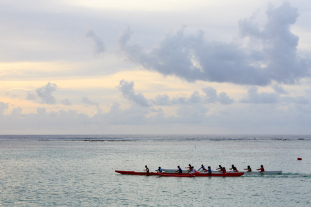 Bunch of people kayaking on the sea Stock Photo
