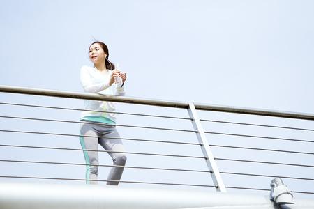 Asian beautiful woman taking a walk outdoor