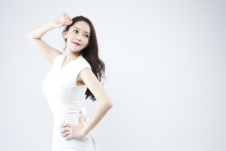 Asian beautiful woman looking confident isolated on white