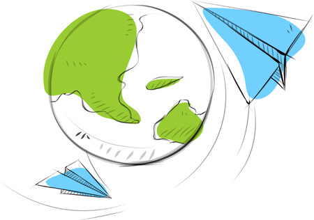 Business sketches of earth with paper airplane