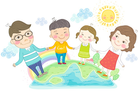 happy family holding hands on earth royalty free cliparts vectors