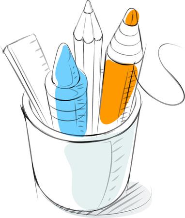 Business sketches of pencil holder Иллюстрация