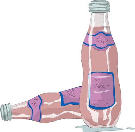 Pink soda bottles vector illustration