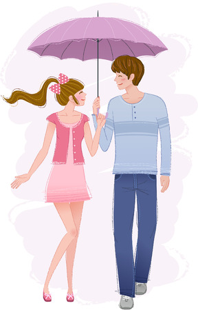 Romantic couple with umbrella