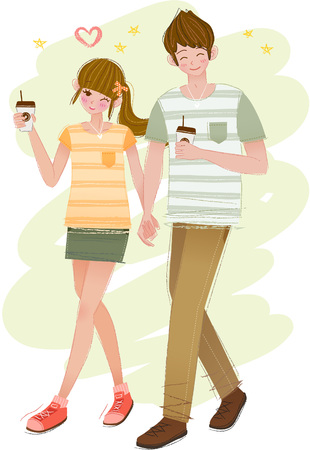 Romantic couple enjoying coffee