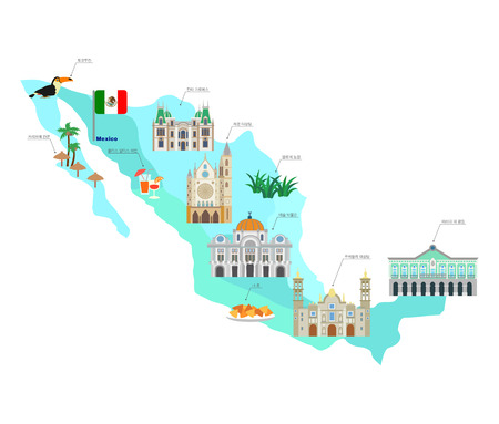 Mexico travel collection with famous attractions