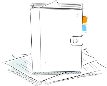 Business sketches of schedule book Иллюстрация