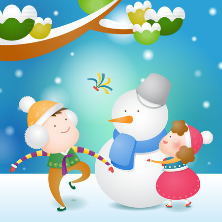 Children in Korea traditional clothing and snowman