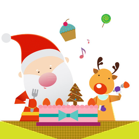 Santa Claus and Reindeer eating cake