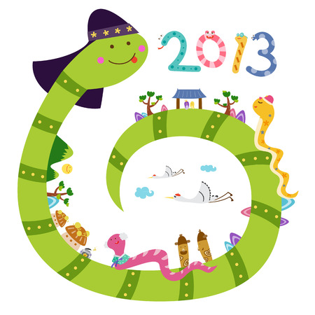 year of the snake: New years card - year of snake 2013