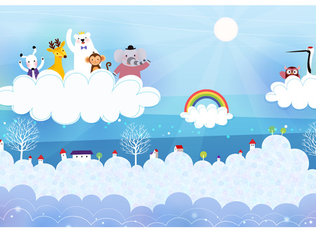 Animals riding on cloud on sky background