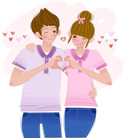 Happy couple having romantic time Ilustrace