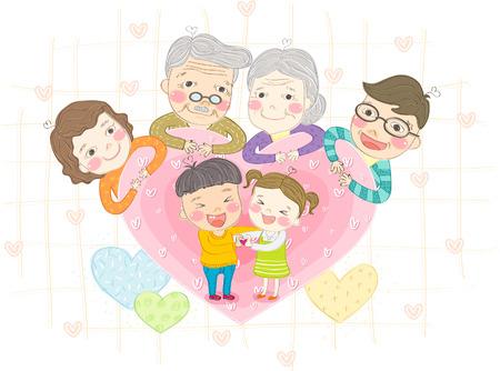 Famille multi génération souriante avec amour Banque d'images - 89921256
