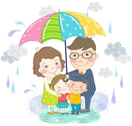 Happy family with umbrella in rainy day