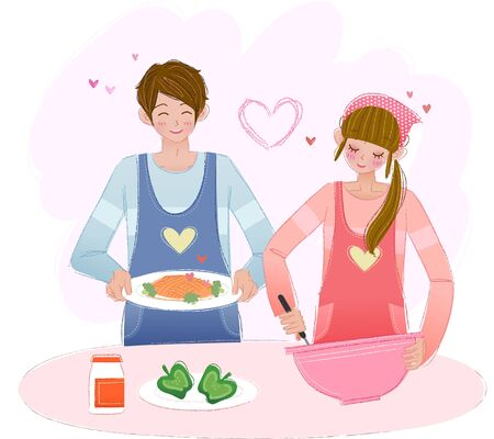 Romantic couple cooking together