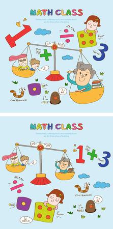 Wiskunde klasse verhaalsjabloon met pictogrammen