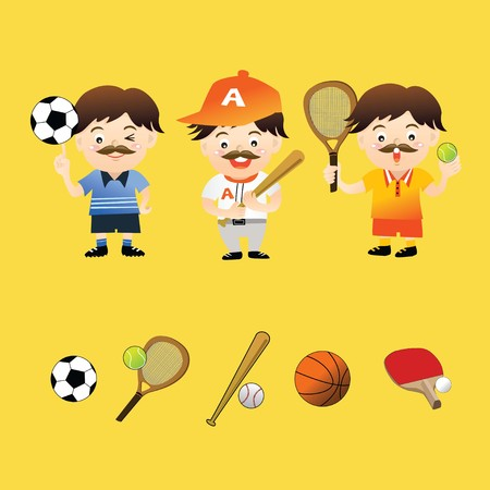 Collection of athlete and icons in yellow background