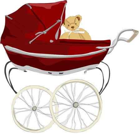 Painting of teddy bear ins stroller Illustration