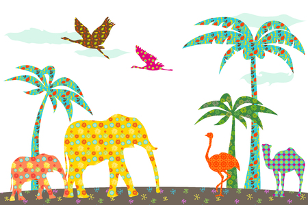 Animals in jungle with pattern