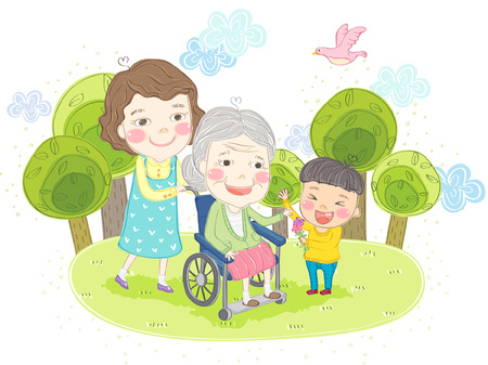 Multi generation family with grandmother on wheelchair