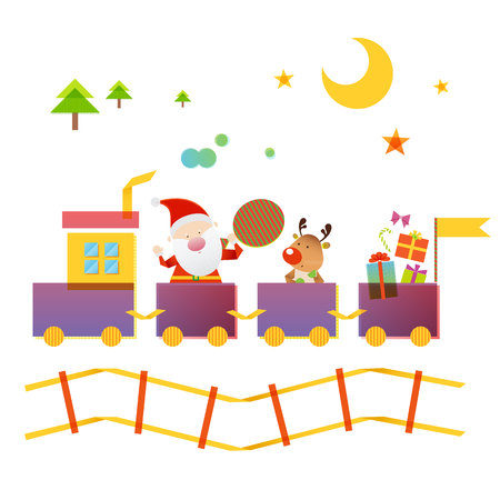 Santa Claus and Reindeer riding on train Illustration