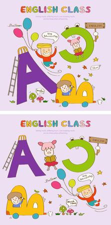 아이콘이있는 영어 수업 이야기 템플릿