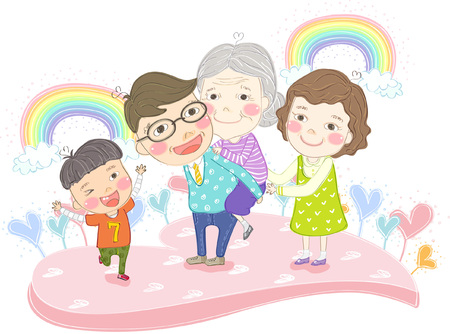 Multi generation family with rainbow