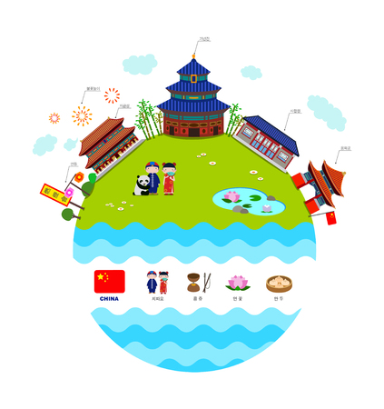 China travel collection with famous attractions