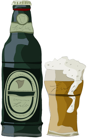Painting of bottle beer Illustration