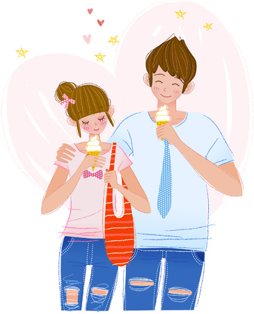 Romantic couple eating ice cream Ilustrace