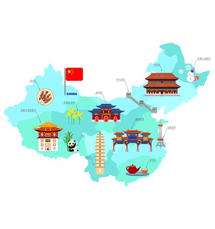 유명한 명소가있는 중국 여행 컬렉션