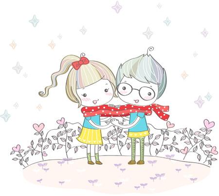 Boy and girl with muffler in winter Illusztráció