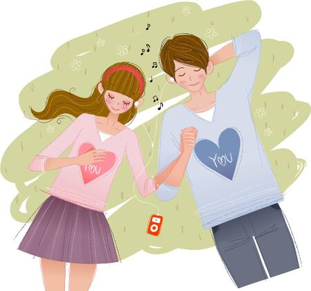 Romantic couple enjoying music on grass Ilustrace