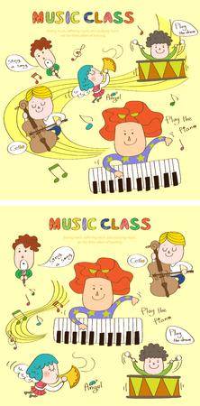 Modèle d'histoire de classe de musique avec des icônes Banque d'images - 89941044