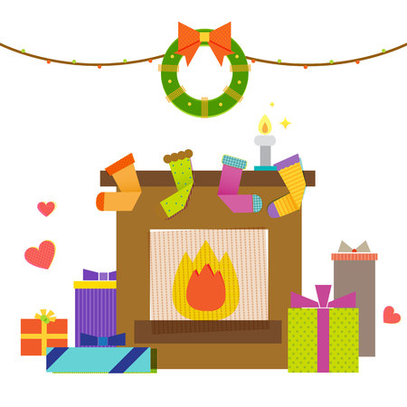 Fireplace with Christmas deco and gift