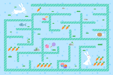 Rabbit must go to the carrot through the maze Ilustrace