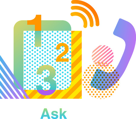 Ask colorful  design - phone Иллюстрация