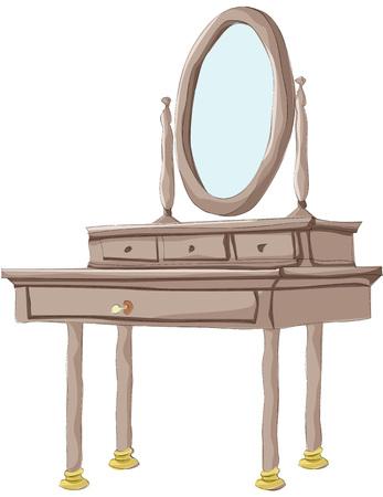Schilderij van kaptafel met een grote spiegel