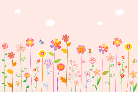 Flower and bee pattern - pink background Illustration