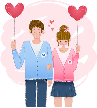 Romantic couple with heart balloon Ilustrace