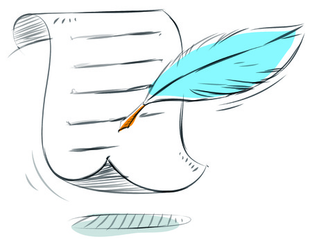 Business sketches of paper and feather quill Ilustrace