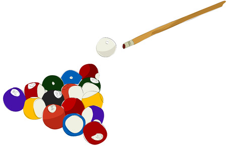 Painting of billiard ball and stick