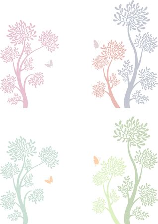 tree and bird in two different color version pattern
