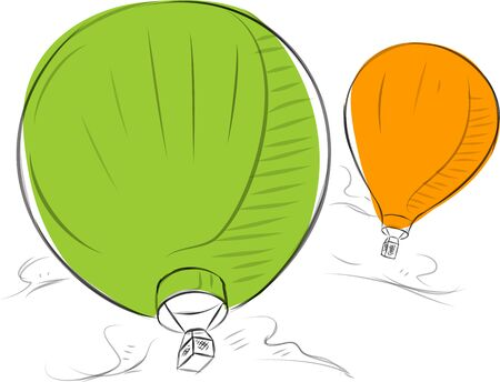 Business sketches of hot-air balloon