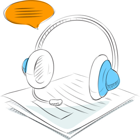 Bedrijfsschetsen van de headset